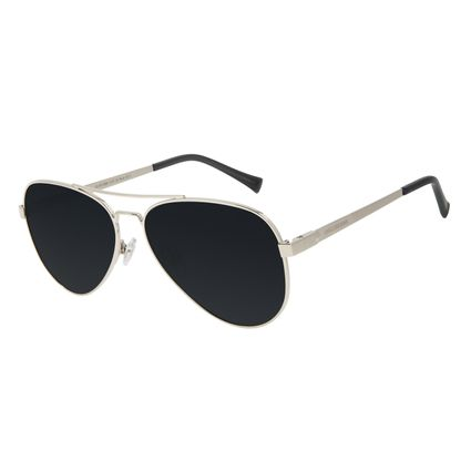 Óculos de Sol Unissex Chilli Beans Aviador Polarizado Prata OC.MT.2890-0107