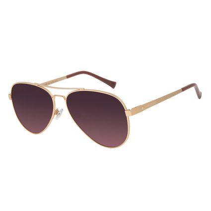 Óculos de Sol Unissex Chilli Beans Aviador Polarizado Dourado OC.MT.2890-2021