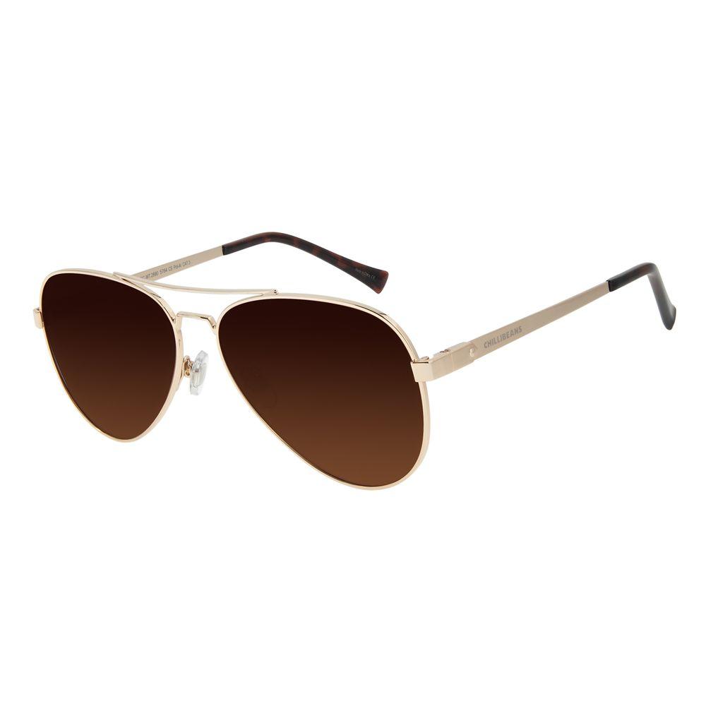 Óculos de Sol Unissex Chilli Beans Aviador Polarizado Dourado Claro OC.MT.2890-5764