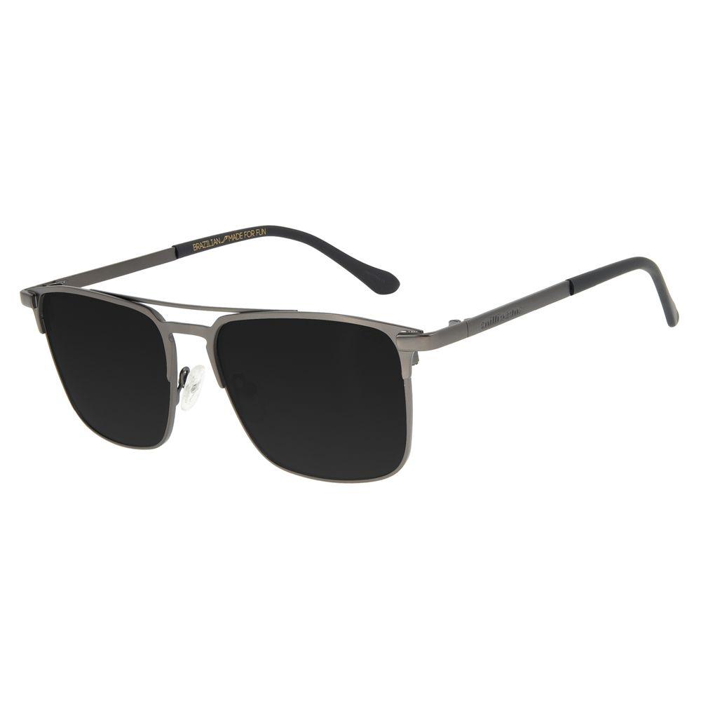 Óculos de Sol Unissex Chilli Beans Executivo Metal Fosco Ônix OC.MT.2837-0122