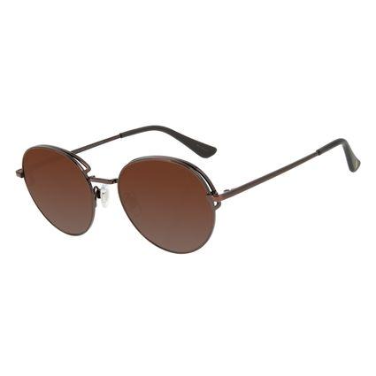 Óculos de Sol Feminino Chilli Beans Redondo Flap Marrom Escuro OC.MT.2583-2047