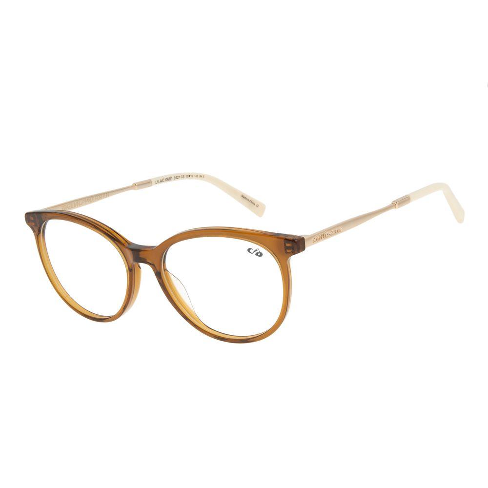 Armação Para Óculos de Grau Feminino Chilli Beans Redondo Marrom LV.AC.0681-0221