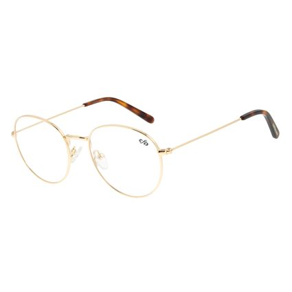 Armação para Óculos de Grau Unissex Chilli Beans Redondo Dourado LV.MT.0363-2121