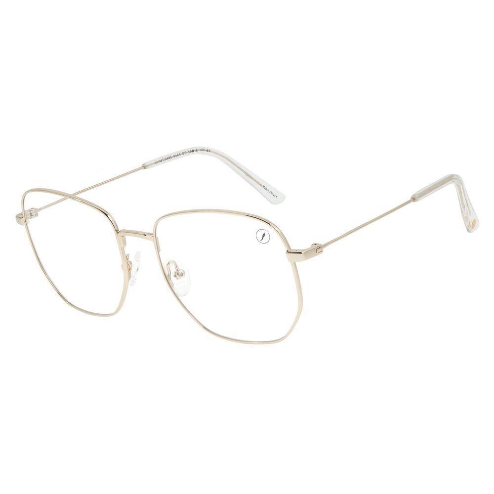 Armação Para Óculos de Grau Feminino Chilli Beans Quadrado Casual Dourado Claro LV.MT.0485-6464