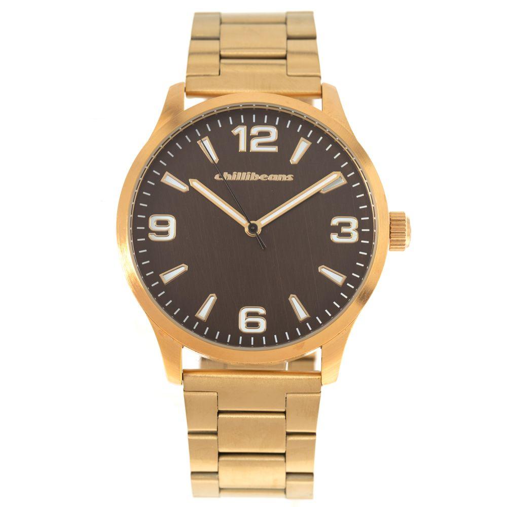 Relógio Analógico Masculino Chilli Beans Metal Escovado Dourado RE.MT.1070-0221