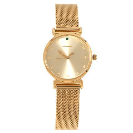 Relógio Analógico Feminino Mãe Natureza Feather Dourado RE.MT.1051-2121