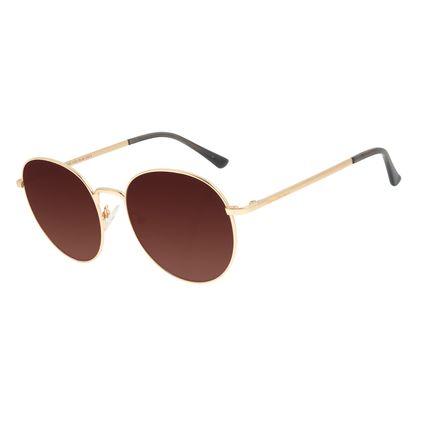 Óculos de Sol Feminino Chilli Beans Degradê Marrom Banhado A Ouro OC.MT.2997-5721