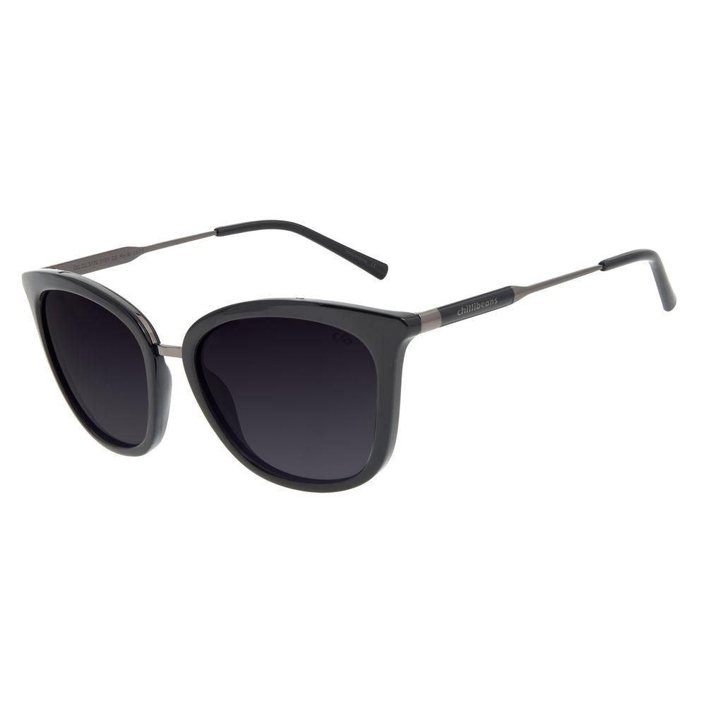 Óculos de Sol Feminino Chilli Beans Basic Quadrado Preto Polarizado OC.CL.3170-0101