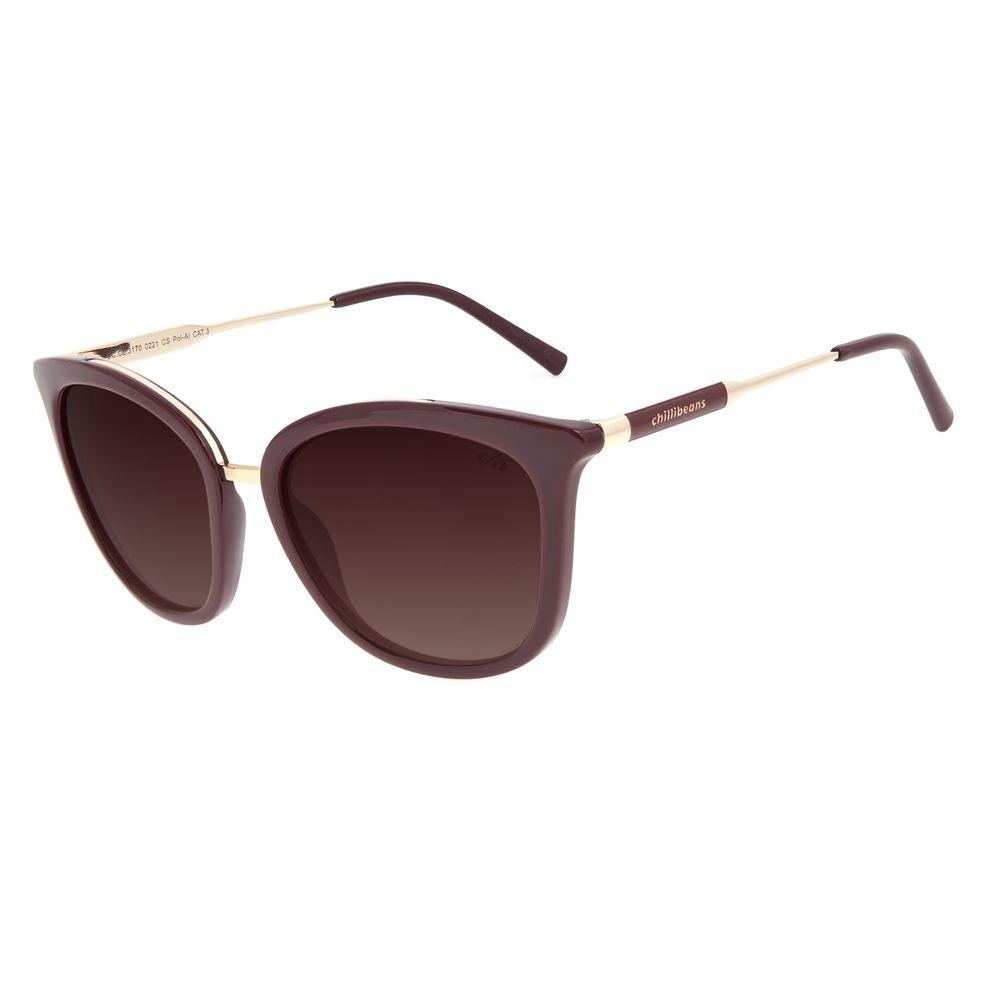 Óculos de Sol Feminino Chilli Beans Basic Quadrado Dourado Polarizado OC.CL.3170-0221