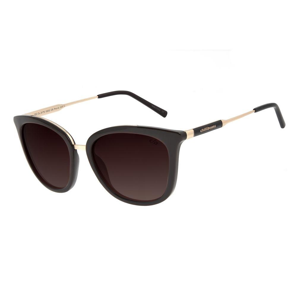 Óculos de Sol Feminino Chilli Beans Basic Quadrado Marrom Polarizado OC.CL.3170-0202