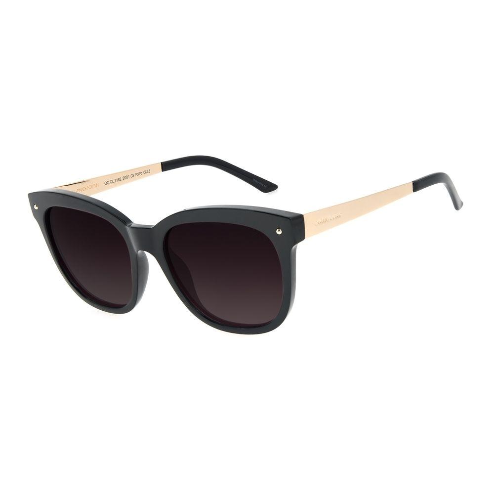Óculos de Sol Feminino Chilli Beans Redondo Polarizado Basic Preto OC.CL.3182-2001