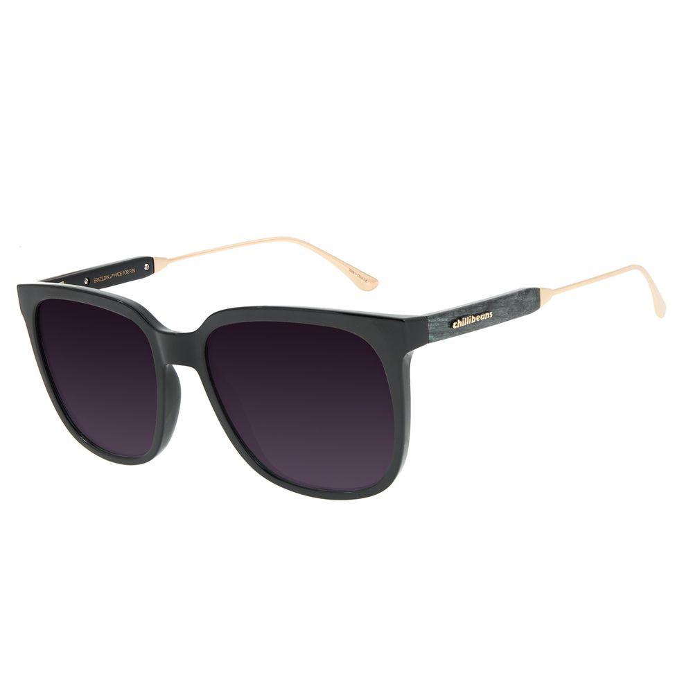Óculos de Sol Feminino Chilli Beans Quadrado Wood Preto OC.CL.3202-2001