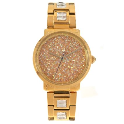 Relógio Analógico Feminino Funk-se Pedraria Dourado RE.MT.1165-2121