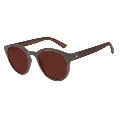 Óculos de Sol Unissex Color Match Redondo Marrom OC.CL.3207-0202