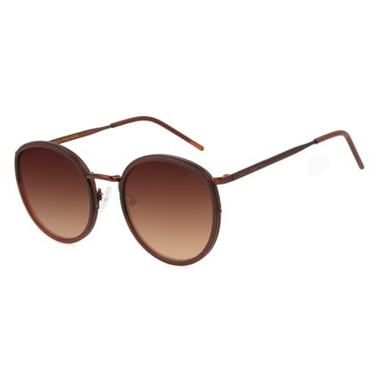 Óculos de Sol Feminino Chilli Beans Redondo Marrom OC.MT.3001-0202