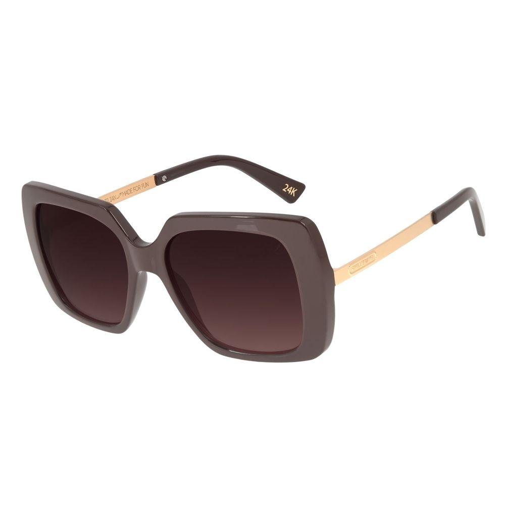 Óculos de Sol Feminino Loucuras da Nobreza Cleópatra Marrom Banhado a Ouro OC.CL.3145-2002