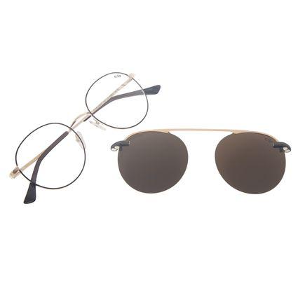 Armação Para Óculos de Grau Masculino Chilli Beans Multi Redondo Dourado Polarizado Fosco LV.MU.0447-0221