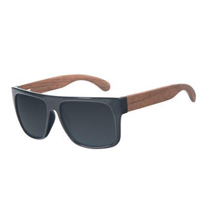 Óculos de Sol Masculino Chilli Beans Essential Bamboo Cinza Polarizado OC.CL.3003-0401