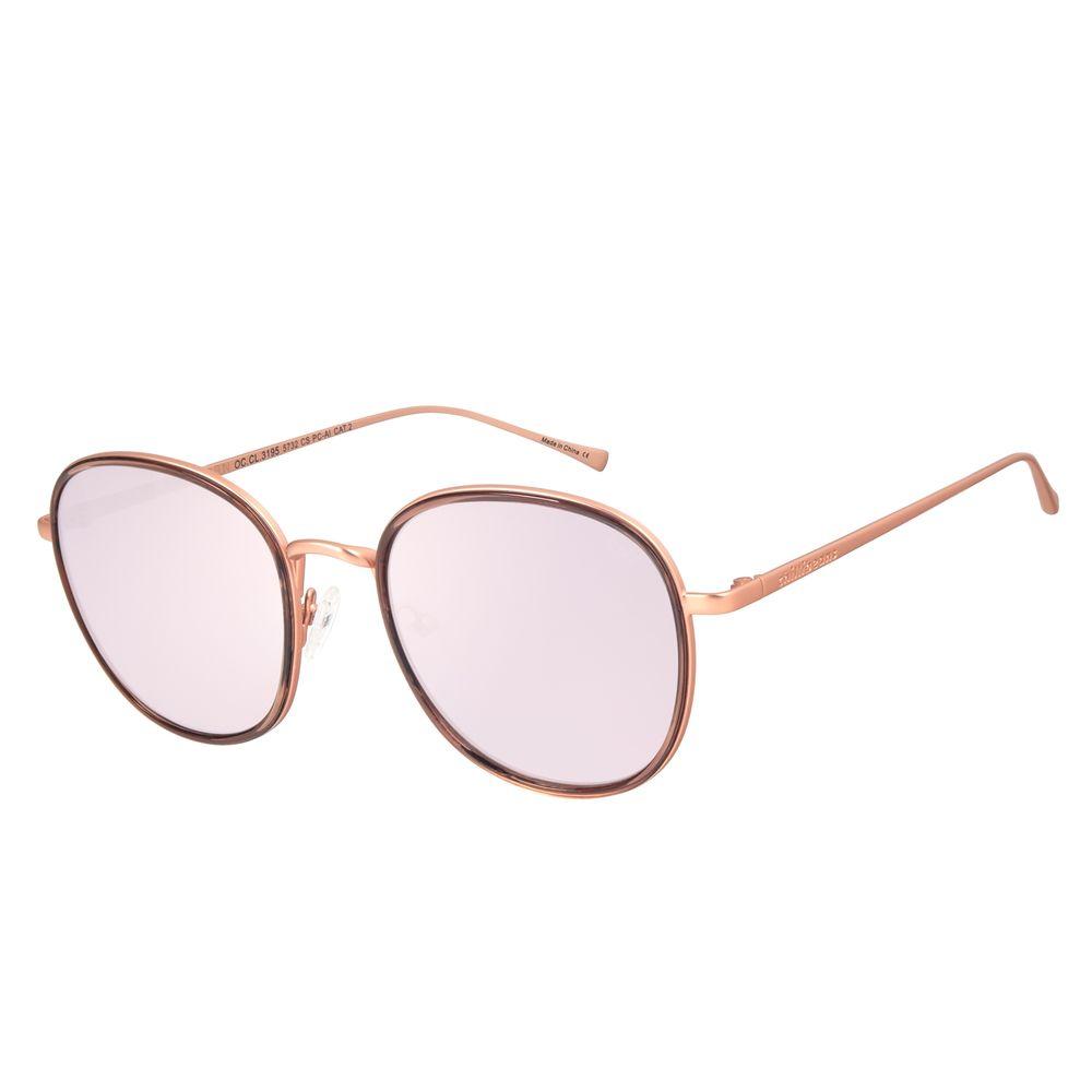 Óculos de Sol Feminino Chilli Beans Redondo Banhado A Ouro Espelhado OC.CL.3195-5732