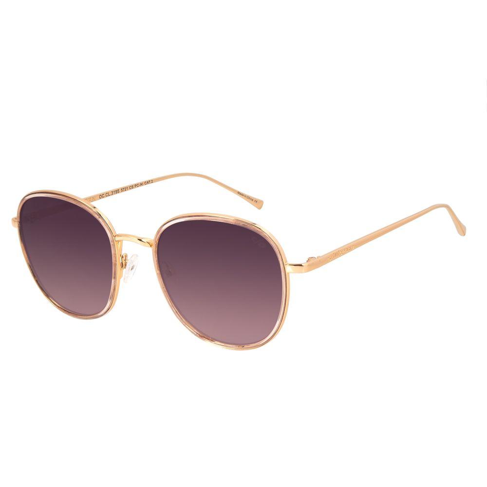 Óculos de Sol Feminino Chilli Beans Redondo Banhado A Ouro Dourado OC.CL.3195-5721