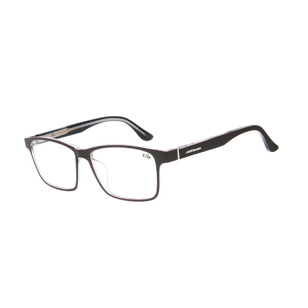 Armação Para Óculos de Grau Masculino Chilli Beans Retangular Marrom LV.IJ.0175-0202