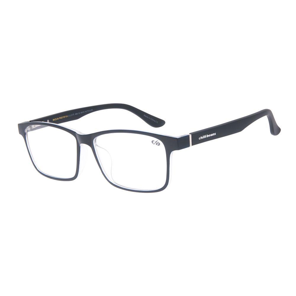 Armação Para Óculos de Grau Masculino Chilli Beans Retangular Azul Escuro LV.IJ.0175-9090