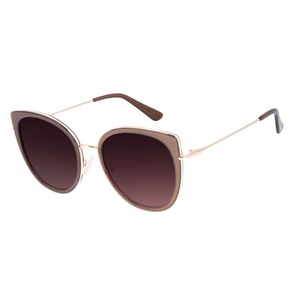 Óculos de Sol Feminino Chilli Beans Redondo Marrom Escuro OC.CL.3095-5747