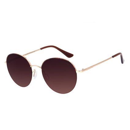 Óculos de Sol Feminino Chilli Beans Redondo Metal Casual Degradê Marrom OC.MT.2907-5721