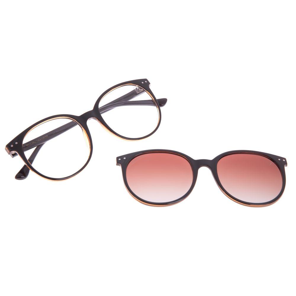 Armação para Óculos de Grau Feminino Chilli Beans Multi Redondo Polarizado Marrom LV.MU.0493-5702