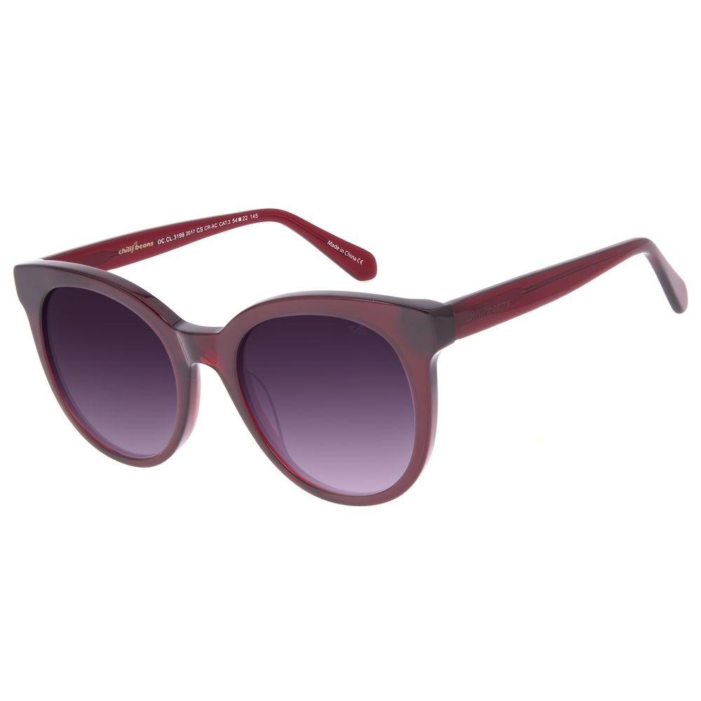 Óculos de Sol Feminino Chilli Beans Redondo Vinho OC.CL.3199-2017