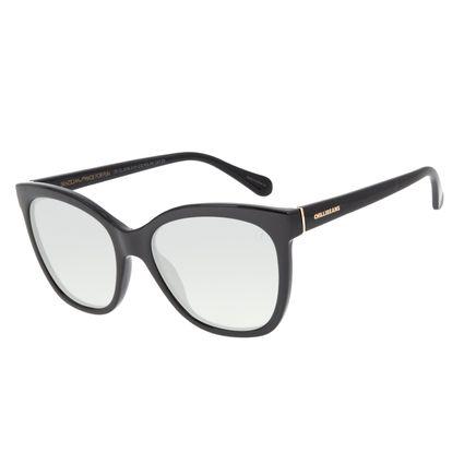 Óculos de Sol Feminino Color Match Quadrado Preto OC.CL.3206-0101