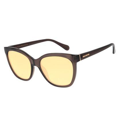 Óculos de Sol Feminino Color Match Quadrado Marrom OC.CL.3206-0202