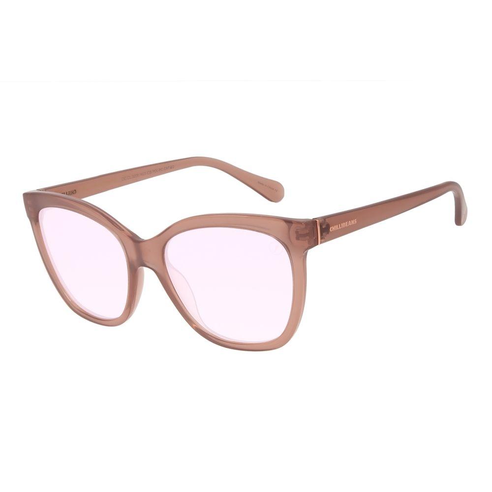 Óculos de Sol Feminino Color Match Quadrado Bege OC.CL.3206-1423