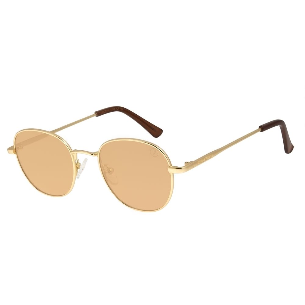 Óculos de Sol Unissex Color Match Classic Design Redondo Marrom OC.MT.3030-0221