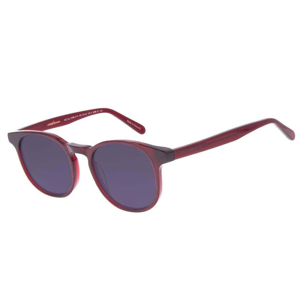 Óculos de Sol Unissex Chilli Beans Redondo Vinho OC.CL.3198-0117