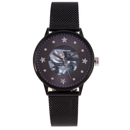 Relógio Analógico Feminino Mar.É Perolado Preto RE.MT.1166-0801