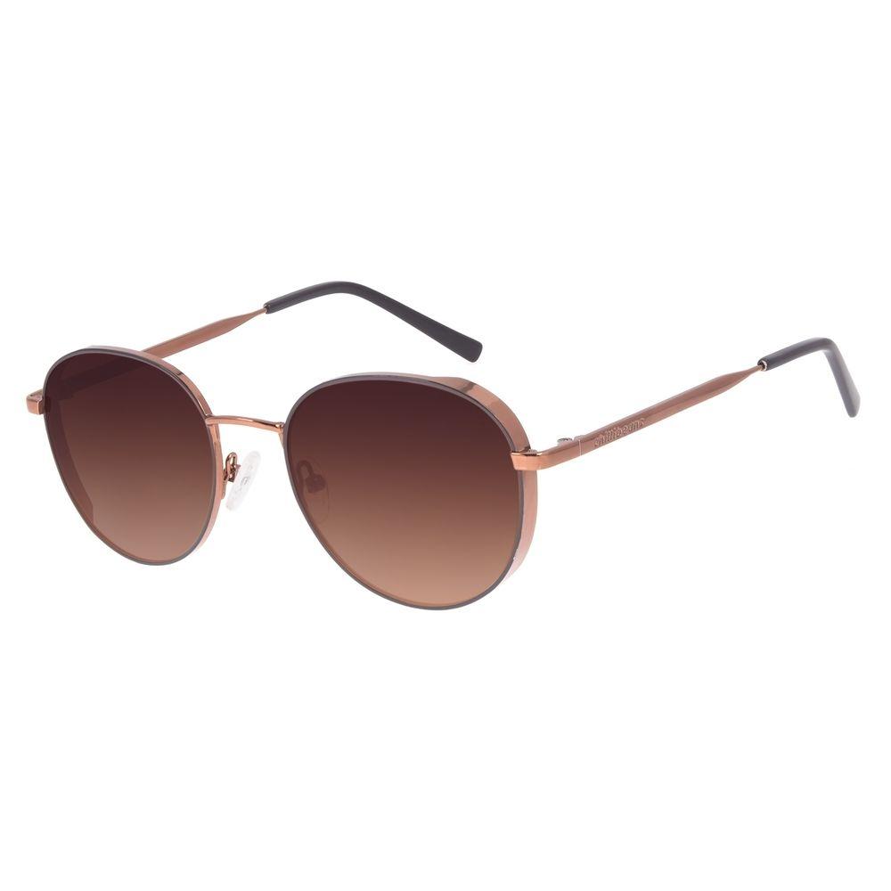 Óculos de Sol Feminino Chilli Beans Redondo Flap Marrom Claro OC.MT.3002-0288