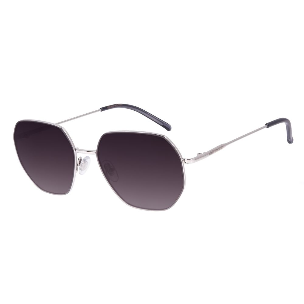 Óculos de Sol Unissex Chilli Beans Quadrado Metal Prata OC.MT.3003-2007