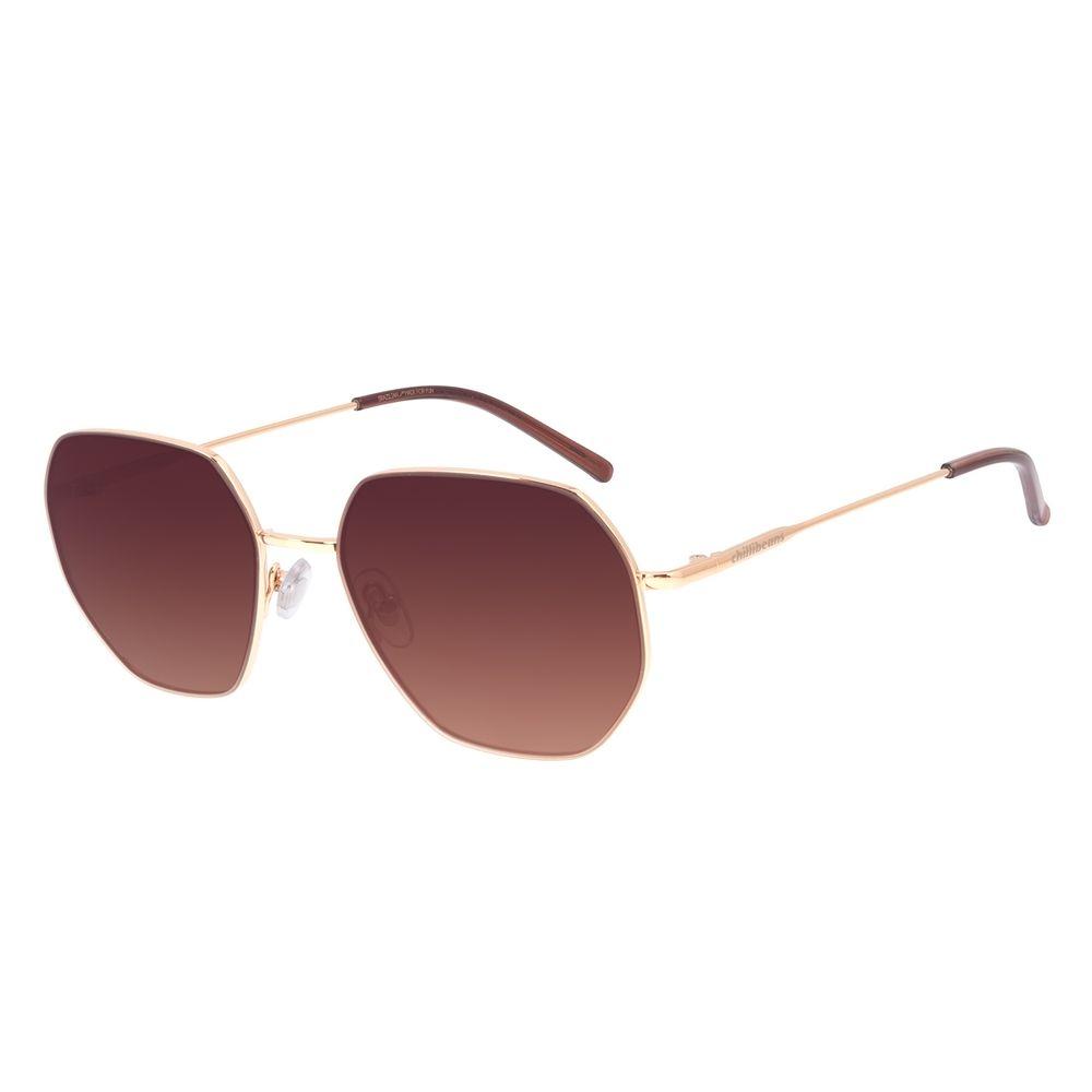 Óculos de Sol Unissex Chilli Beans Quadrado Metal Dourado OC.MT.3003-5721