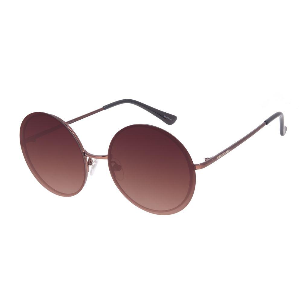 Óculos de Sol Feminino Chilli Beans Casual Redondo Metal Marrom OC.MT.3009-5702