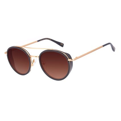 Óculos de Sol Unissex A.H Circus Redondo Banhado a Ouro Dourado OC.CL.3211-1121