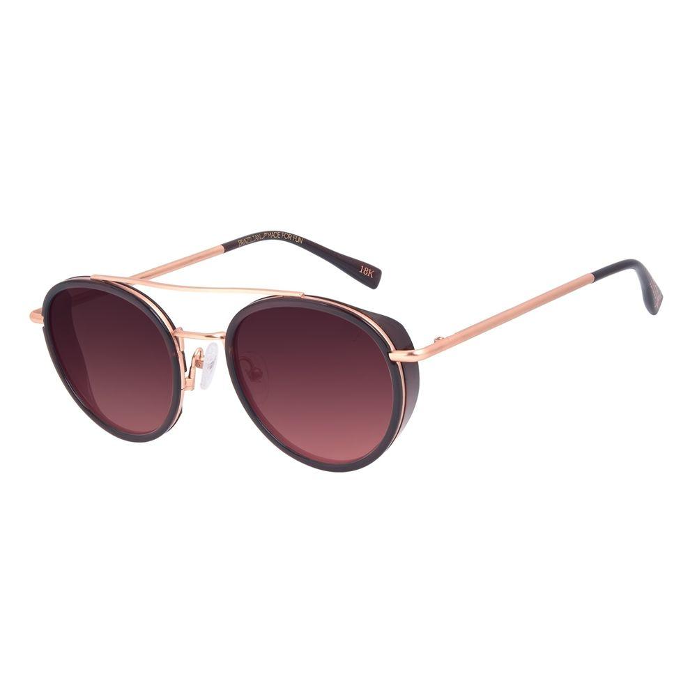 Óculos de Sol Unissex A.H Circus Redondo Banhado a Ouro Bege OC.CL.3211-2321