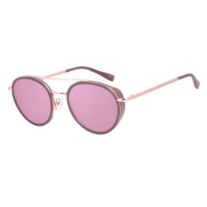 Óculos de Sol Unissex A.H Circus Redondo Banhado a Ouro Rosé OC.CL.3211-9521