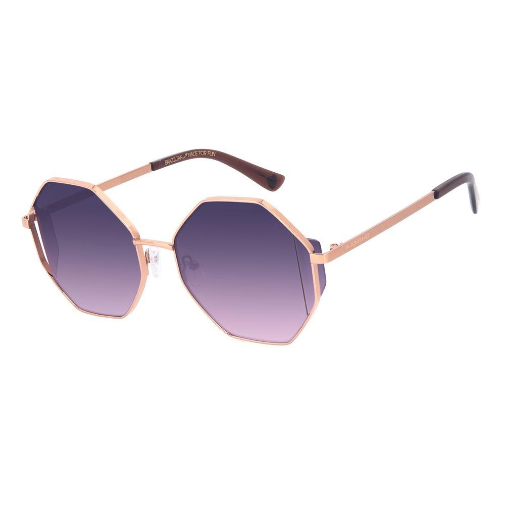 Óculos de Sol Feminino A.H Circus Hexagonal Flap Marrom OC.MT.3036-2002