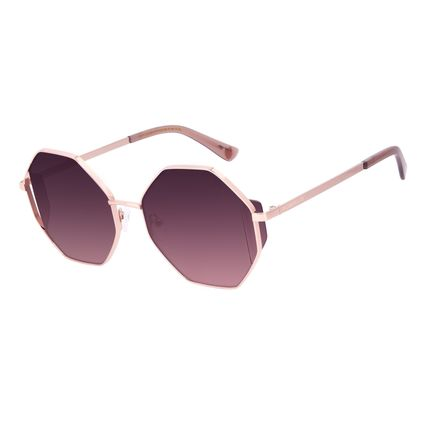 Óculos de Sol Feminino A.H Circus Hexagonal Flap Rosé OC.MT.3036-2395