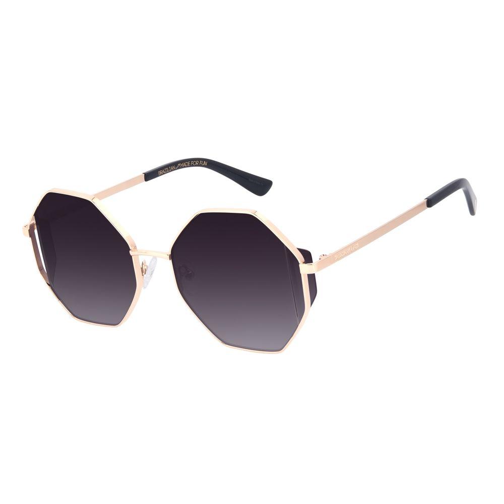 Óculos de Sol Feminino A.H Circus Hexagonal Flap Dourado OC.MT.3036-2021