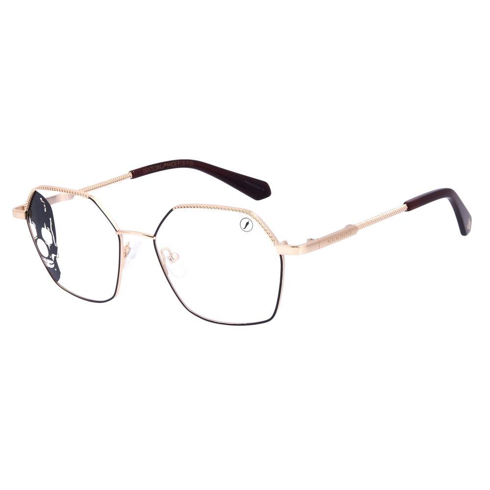 Armação Para Óculos de Grau Unissex A.H Circus Hexagonal Dourado LV.MT.0491-2121