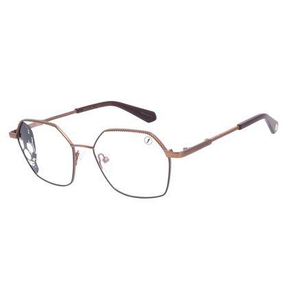 Armação Para Óculos de Grau Unissex A.H Circus Hexagonal Marrom LV.MT.0491-0202