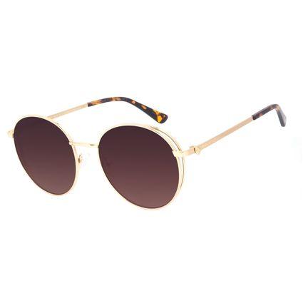 Óculos de Sol Unissex A.H Circus Burlesco Banhado a Ouro Degradê Marrom OC.MT.3034-5721