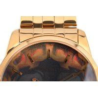 Relógio Analógico Masculino A.H Circus Caveira Dourado RE.MT.1171-1121.5